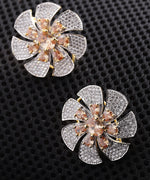 Sparkling Floral Shaped Two Tone American Diamond Stud Earring For Women And Girls