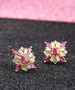 Priyaasi Designer Floral Shaped Pink And White American Diamond Stud Earring For Women And Girls