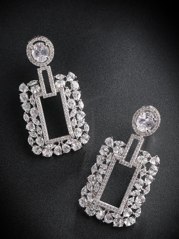 Rhodium-Plated American Diamond Studded Drop Earrings