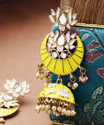 Priyaasi Handpainted Gold Plated Yellow lotus Inspired Jhumka Earring For Women And Girls