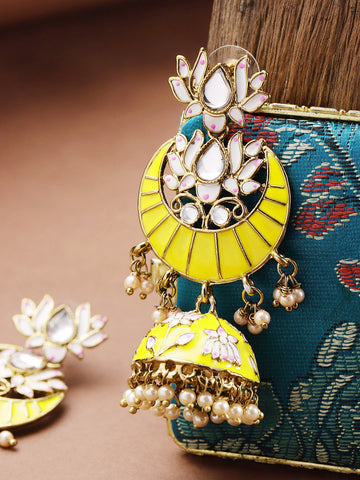 Handpainted Gold Plated Yellow lotus Inspired Jhumka Earring For Women And Girls