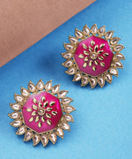 Priyaasi Finely Detailed Gold And Magenta Big Size Stud Earring For Women And Girls