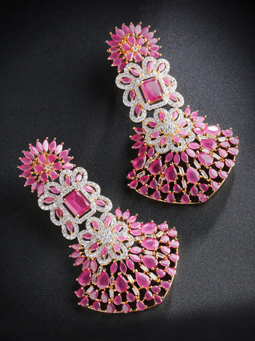 Gold-Plated American Diamond And Ruby Studded Floral Patterned Drop Earrings in Pink and White Color