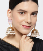 Antique Stone Studded Double Tone Jhumka style Drop Earrings For Women And Girls