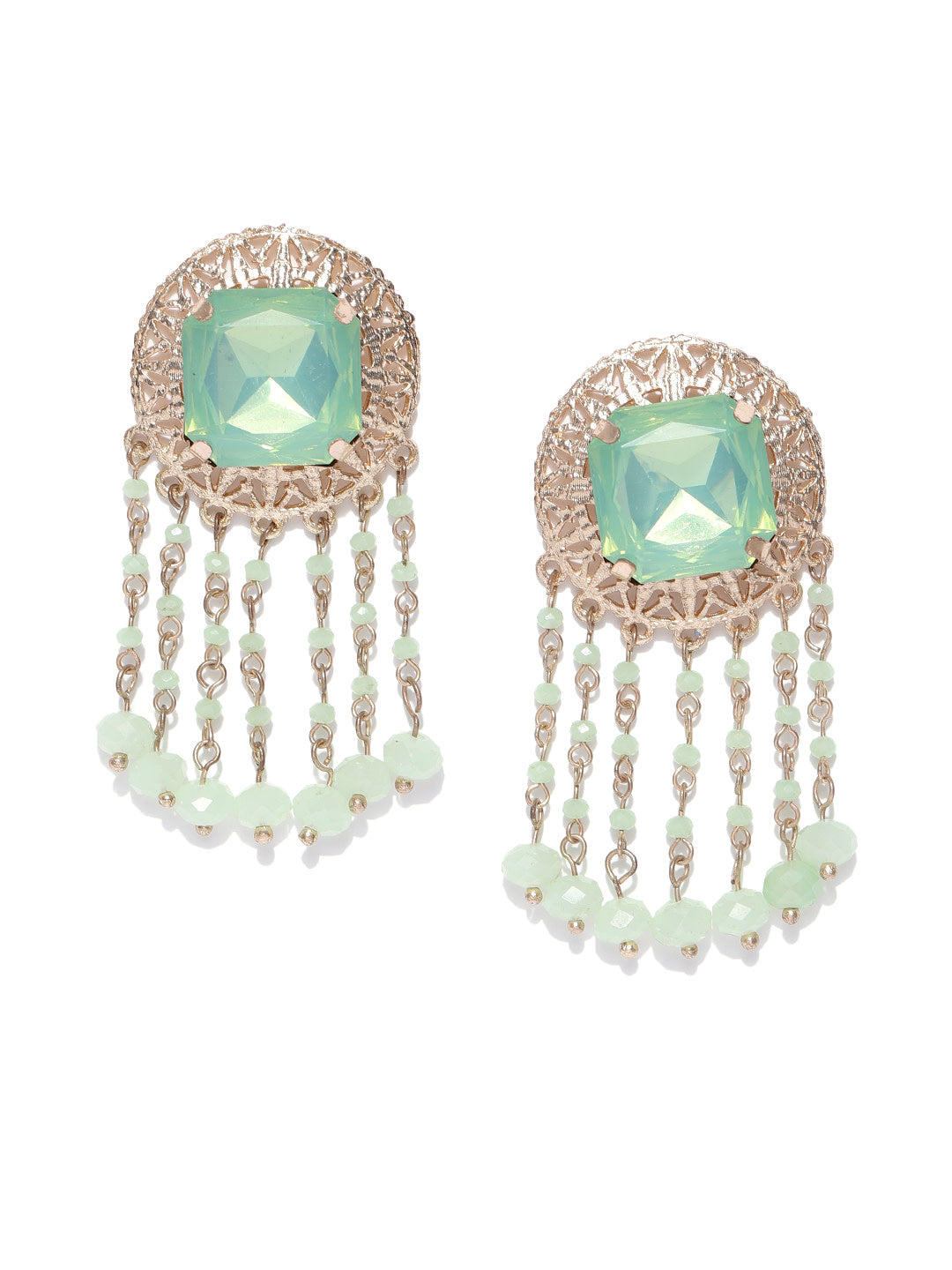 Designer Stone Studded Double Tone Bell Shaped Drop Earring For Women And Girls
