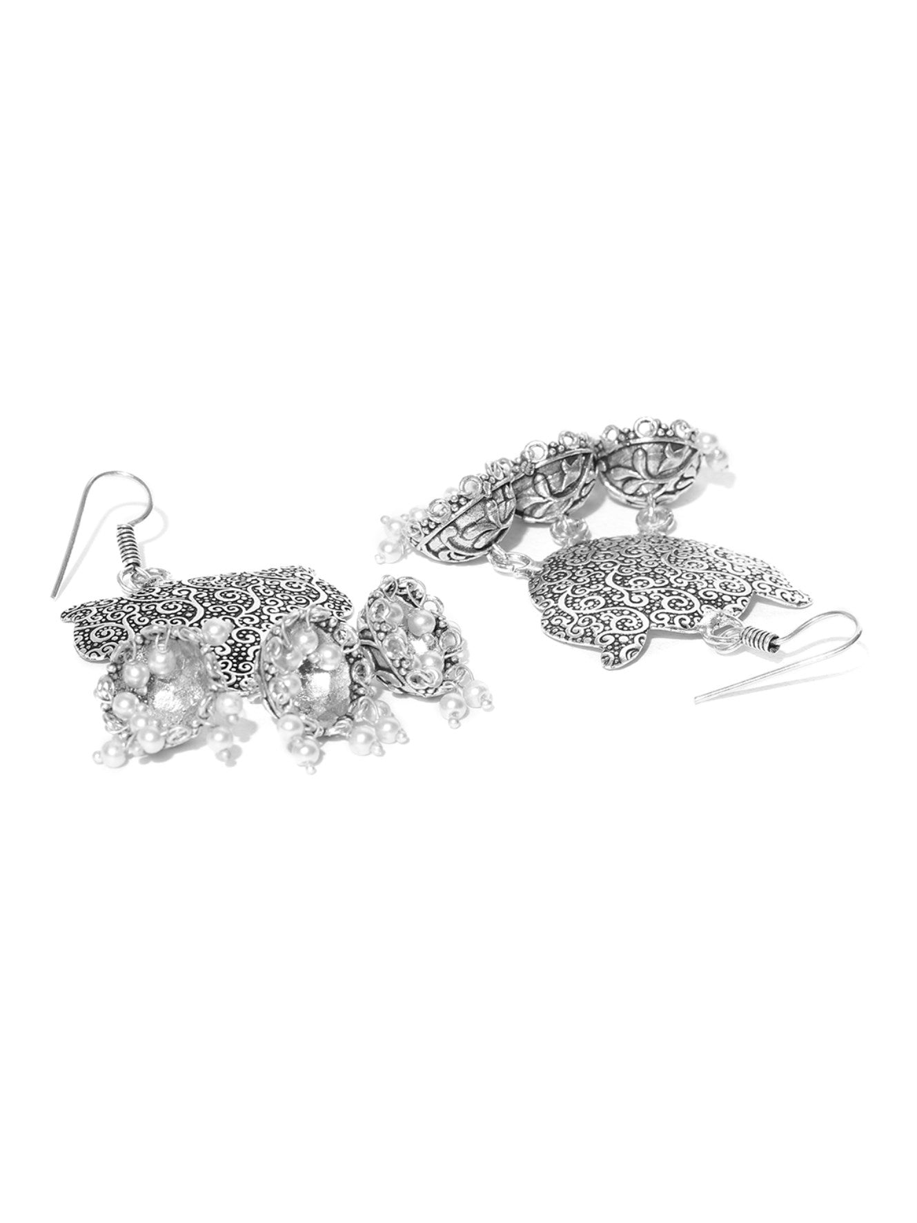 Floral Shaped Silver Tone American Diamond Earring With Pearl Drop For Women And Girls
