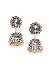 Designer German Silver With Golden Colour Jhumki Earrings For Women And Girls