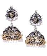 Priyaasi German Silver With Gold Tone Components Jhumka Earrings For Women And Girls