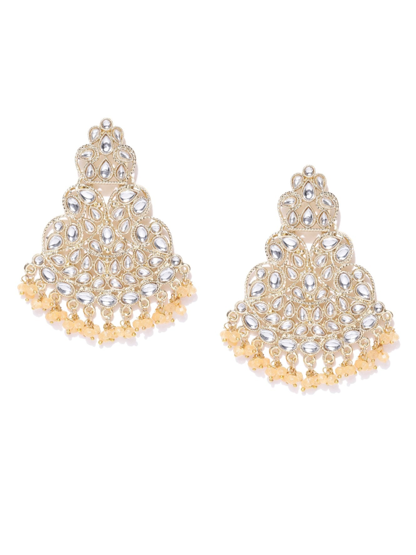 Designer Gold Plated Kundan Earrings With Peach Beads For Women And Girls