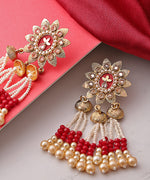 Priyaasi Floral Gold Plated Maroon Drop Earrings With Hanging Beads And Pearls For Women