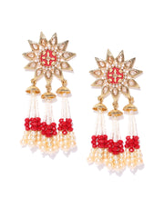 Floral Gold Plated Maroon Drop Earrings With Hanging Beads And Pearls For Women