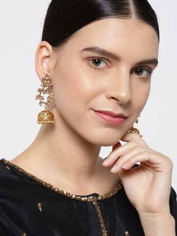 Designer Floral Gold Plated Jhumki Earrings For Women And Girls