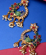 Floral Gold Plated Peacock Inspired Multicolour Stones Earrings For Women