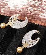Priyaasi Designer Gold Plated Floral Design Skyblue Chandbalis Drop Earrings With Pearl For Women and Girls