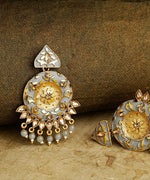 Priyaasi Designer Gold-Plated Stone Studded Round Shape Grey Colour Drop Earrings