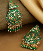 Priyaasi Gold-Plated Stone Studded, Geometric Inspired Drop Earrings with Beads Drop in Green Color