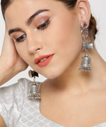 Priyaasi Oxidised Silver-Plated Shiva Inspired Jhumka Earrings