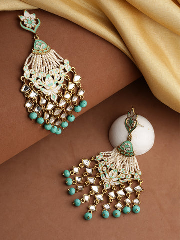Gold-Plated Kundan Studded Floral Patterned, Waterfall Earrings With Meenakari In Sea Green And White Color