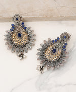 Priyaasi Oxidized Dual-Toned Blue Stones Studded Antique Drop Earrings