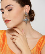 Priyaasi Oxidized Dual-Toned Peacock And Elephant Inspired Drop Earrings