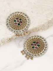 Oxidized Dual-Toned Magenta and Green Stones Studded Drop Earrings in Floral Pattern