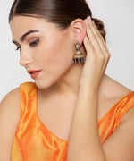 Priyaasi Oxidized Dual-Toned Buddha Inspired Jhumka Earrings
