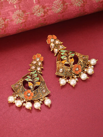 Gold-Plated Stone Studded Multicolor Flower Drop Earrings