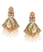 Priyaasi Gold-Plated Stone Studded Multicolor Flower Drop Earrings
