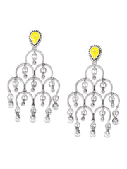 Oxidised Silver-Plated Drop Earrings in Yellow Color