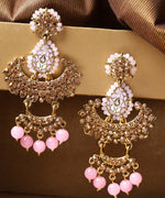 Priyaasi Gold-Plated Stone-Studded Light Pink Beaded Chandbalis Drop Earrings