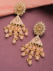 Gold-Plated Stone Studded Floral Patterned Meenakari Earrings with Beads Drop in Peach Color