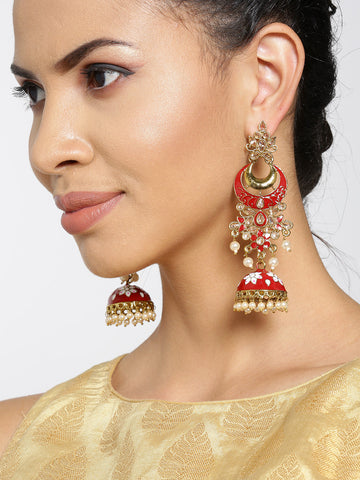 Gold-Plated Stones Studded Meenakari Jhumka Earrings in Maroon and White Color