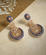 Gold-Plated Stones Studded Meenakari Chandbali Earrings in Navy Blue Color