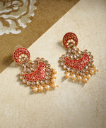 Priyaasi Gold-Plated Stone Studded Drop Earrings with Meenakari In Red Color with Pearls Drop