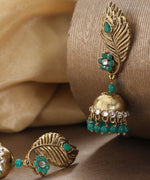 Priyaasi Gold-Plated Stones Studded Feather Inspired Jhumka Earrings with Green Beads Drop