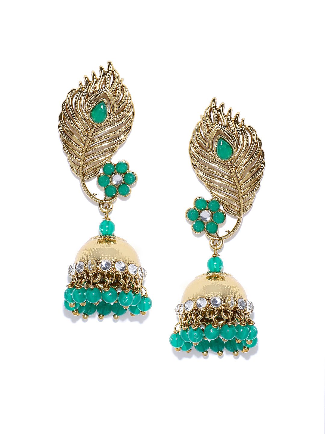 Gold-Plated Stones Studded Feather Inspired Jhumka Earrings with Green Beads Drop