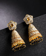 Priyaasi Gold-Plated Floral Patterned Jhumka Earrings with Meenakari Grey Colour with Beads Drop