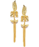 Priyaasi Gold-Plated Leaf Inspired Tasselled Drop Earrings