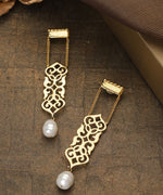 Gold-Plated Pearl Filigree Drop Earrings with Pearl Drop