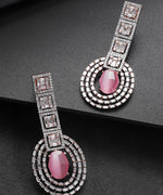 Priyaasi Rose Gold-Plated Pink Stone and American Diamond Studded Heavy Drop Earrings