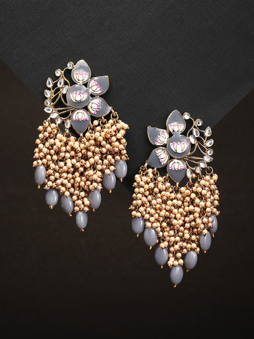 Gold-Plated Kundan Studded, Grey Meenakari Earrings In Floral Pattern