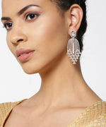 Priyaasi Rose Gold-Plated American Diamond Studded Waterfall Drop Earrings
