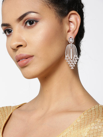 Rose Gold-Plated American Diamond Studded Waterfall Drop Earrings