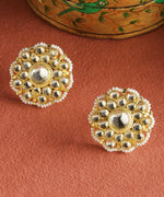 Priyaasi Gold Plated Kundan Studded Floral Shaped Circular Stud Earrings