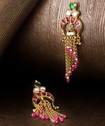 Priyaasi Gold-Plated Pachi Kundan Studded Drop Earrings in Magenta And Green Color