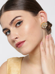Gold-Plated Pachi Kundan Studded Large Stud Earrings in Floral Pattern
