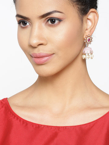 Gold-Plated American Diamond Studded Floral Patterned Meenakari Jhumka Earrings in Pink Color with Pearls Drop