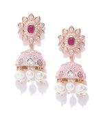 Priyaasi Gold-Plated American Diamond Studded Floral Patterned Meenakari Jhumka Earrings in Pink Color with Pearls Drop