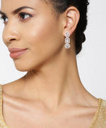 Priyaasi Rose Gold-Plated American Diamond Studded Drop Earrings