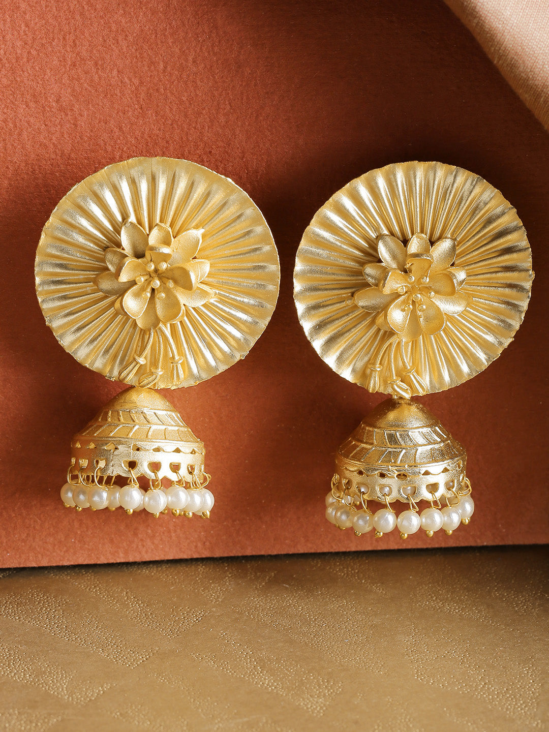 Gold-Plated Floral Patterned Jhumka Earrings with Pearls Drop